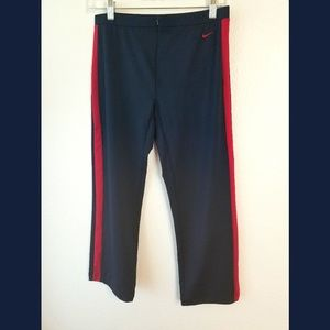Nike Navy Red Stripe Zip Front Pants Sz Small
